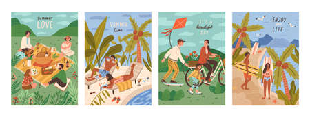 Set of flyers with people performing outdoor leisure activities - friends at picnic, couple sunbathing at swimming pool, surfers on tropical beach. Summer vacation cards. Flat vector illustration
