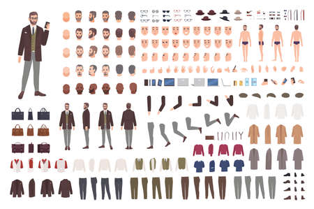 Elegant bearded man in suit animation set or constructor kit. Bundle of body parts, postures, hairstyles, formal clothes. Male cartoon character. Front, side, back views.