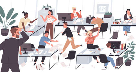 Unorganized office with lazy and unmotivated workers. Concept of difficulties and problems with organization at work, chaos, mess and disorder at workplace. Flat cartoon colorful vector illustration
