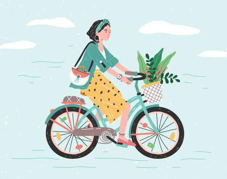 Happy girl dressed in trendy clothes riding city bicycle with flower bouquet in front basket. Adorable young hipster woman on bike. Cute pedaling female bicyclist. Flat cartoon vector illustration
