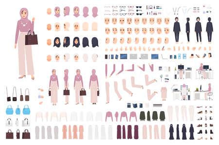 Giovane donna araba elegante in set fai da te hijab o kit costruttore. Fascio di parti del corpo, posture, vestiti musulmani alla moda. Personaggio dei cartoni animati femminile. Vista frontale, laterale, posteriore. Illustrazione vettoriale piatta