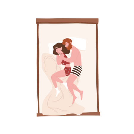 Cute sweet young couple lying in bed and cuddling or hugging. Funny man and woman sleeping at night. Girl and boy napping at home in fetal posture. Top view. Flat cartoon colorful vector illustration