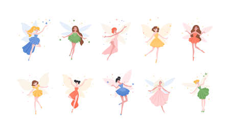Bundle of funny gorgeous fairies in different dresses isolated on white background. Set of mythological or folkloric winged magical creatures, flying fairytale characters. Flat vector illustration Vettoriali