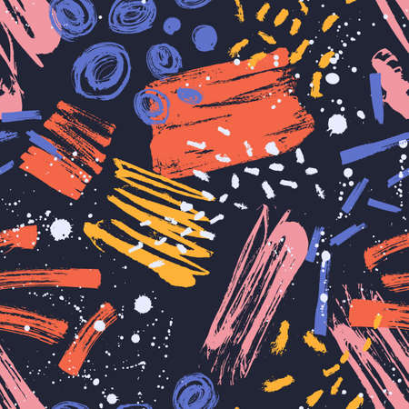 Contemporary seamless pattern with colorful paint stains, marks, spatter on black background. Backdrop with brush strokes. Modern decorative vector illustration in grunge style for textile print