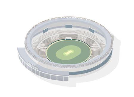 Arena redonda isométrica. Estadio de cricket circular aislado sobre fondo blanco. Recinto deportivo, edificio o estructura para competición deportiva, campeonato nacional de atletismo. Ilustración vectorial moderna Ilustración de vector