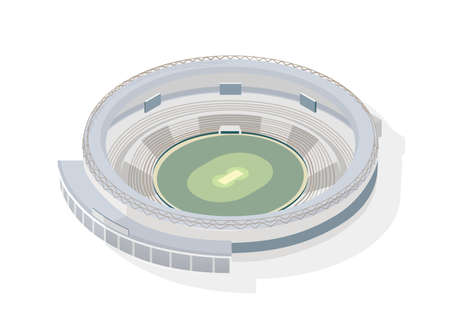 Isometric round arena. Circular cricket stadium isolated on white background. Sports venue, building or structure for sporting competition, national athletics championship. Modern vector illustration