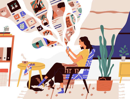 Cute funny girl sitting in comfy armchair and surfing internet on her smartphone. Smiling young woman using social network at home. Online search and communication. Flat cartoon vector illustration