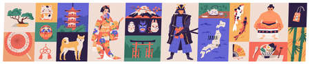 Bundle of traditional symbols of Japan - pagoda, geisha in kimono, koi fish, wagasa umbrella, bonsai tree, mount Fuji, maneki-neko. Set of Japanese design elements. Flat cartoon vector illustration