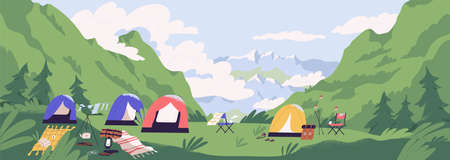 Touristic camp or campground with tents and campfire. Landscape with forest campsite against mountains in background. Location for adventure tourism, travel, backpacking. Flat vector illustration Ilustração