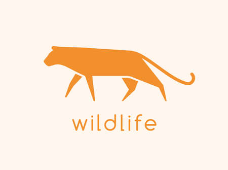 Modern logotype with silhouette of wild cat.  carnivorous animal, predatory felid. Abstract decorative design element isolated on light background. Monochrome simple flat vector illustration. 矢量图像