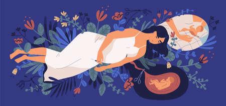 Traurige junge schwangere Frau, die auf blühenden Blumen liegt, an ihr ungeborenes Baby denkt und die Wahl trifft. Konzept der Abtreibung, unglückliche Schwangerschaft, mütterliche Gesundheit. Bunte Vektorillustration der flachen Karikatur