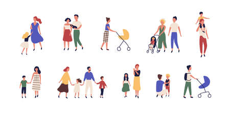 Bundle of walking families. Collection of mothers, fathers and children spending time together. Set of strolling parents and kids isolated on white background. Flat cartoon vector illustration Illustration