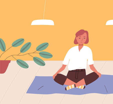 Ragazza seduta a gambe incrociate sul pavimento e meditando. Giovane donna che pratica yoga, meditazione buddista, esercizio di controllo del respiro Pranayama, disciplina spirituale a casa. Illustrazione di vettore del fumetto piatto.