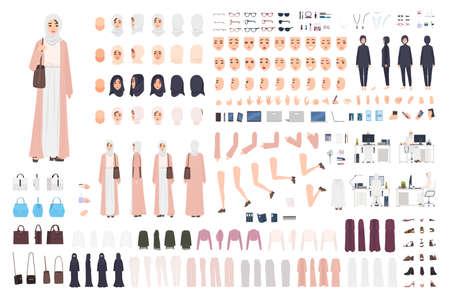 Conjunto de constructor de mujer de negocios árabe joven o kit de creación. Paquete de partes del cuerpo de oficinista, emociones, ropa tradicional aislado sobre fondo blanco. Ilustración vectorial de dibujos animados plana