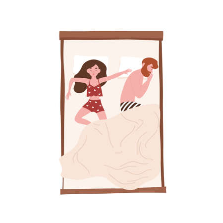 Funny young couple lying relaxed under blanket. Cute man sleeping on side and woman spreading herself on bed. Girl and boy napping at home. Top view. Flat cartoon colorful vector illustration 向量圖像