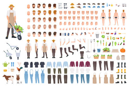 Set di costruttori di agricoltori o lavoratori agricoli o generatore di avatar. Fascio di parti del corpo del personaggio maschile, emozioni, vestiti, strumenti di lavoro isolati su sfondo bianco. Illustrazione vettoriale di cartone animato piatto