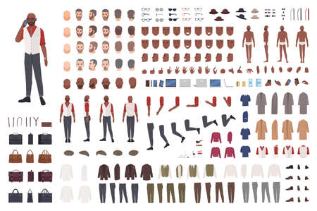 African American man creation set or avatar kit. Collection of male body parts in different poses, clothes isolated on white background. Front, side, back views. Flat cartoon vector illustration
