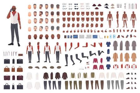 Afroamerikaner-Mann-Erstellungsset oder Avatar-Kit. Sammlung männlicher Körperteile in verschiedenen Posen, Kleidung auf weißem Hintergrund. Vorder-, Seiten-, Rückansichten. Flache Cartoon-Vektor-Illustration