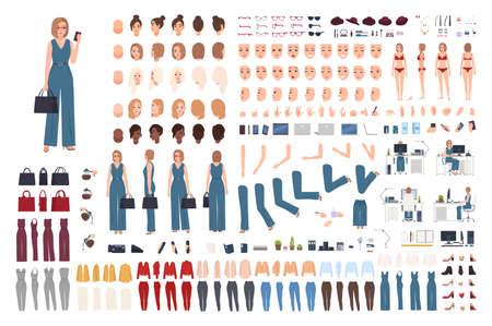 Weibliche Büroassistentin DIY Set oder Kreation Kit. Bündel von Körperteilen der Frau, Gesten, Körperhaltungen, Kleidung isoliert auf weißem Hintergrund. Vorder-, Seiten- und Rückansichten. Cartoon-Vektor-Illustration