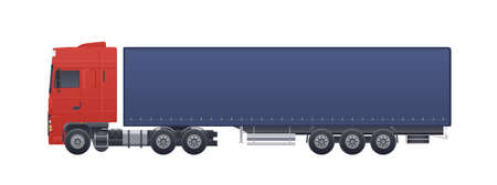 Modern truck or lorry isolated on white background. Side views. Commercial road vehicle with diesel engine, automobile shipping or delivery, cargo transportation. Realistic vector illustration