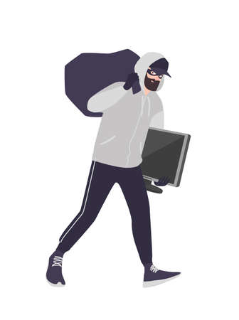 Cheerful male thief wearing mask, cap and hoodie carrying bag and TV. Bearded man commits theft, burglary or housebreaking. Burglar or criminal with loot. Flat cartoon colorful vector illustration