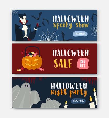 Collection of horizontal holiday web banner templates with Halloween characters - vampire, Jack-o-lantern, ghost. Vector illustration for party or show announcement, festive sale or discount promo.