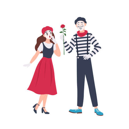 Male and female mimes isolated on white background. Cute funny boy giving rose flower to girl. Pair of performance artists, comedians or performers. Flat cartoon colorful vector illustration Illustration
