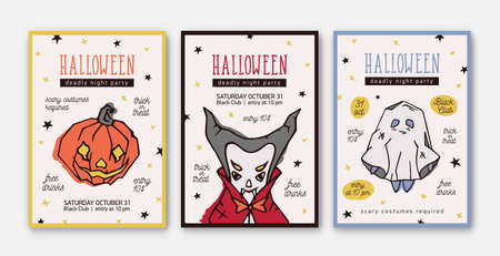 Set of Halloween celebration party invitation, flyer or poster templates with scary spooky characters - Jack-o'-lantern, vampire and ghost. Vector illustration for holiday event announcement, promo