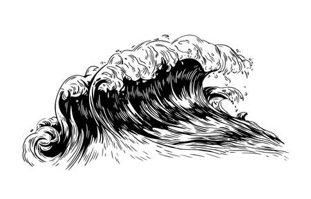 Monochrome drawing of sea or ocean wave with foaming crest. Oceanic storm, tide, seawave hand drawn with black contour lines on white background. Realistic vector illustration in vintage style