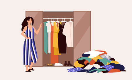 Cute girl standing in front of opened wardrobe with apparel hanging inside and pile of clothes on floor. Concept of closet declutter and organization. Flat cartoon colorful vector illustration