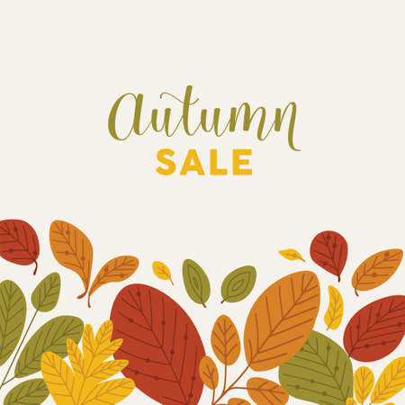 Square banner template decorated by fallen leaves or dried foliage at bottom edge and Autumn Sale lettering written with stylish font. Flat natural vector illustration for advertisement, promotion