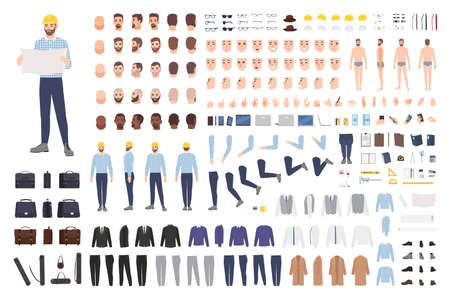 Architect or engineer DIY kit. Collection of male cartoon character body parts, facial expressions, gestures, clothes, working tools isolated on white background. Colorful flat vector illustration
