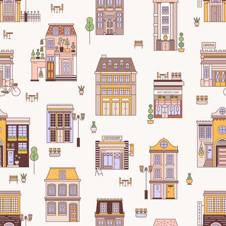 Seamless pattern with city buildings of elegant European architecture. Backdrop with residential houses and shops. Modern colorful vector illustration in linear style for wrapping paper, wallpaper 矢量图像