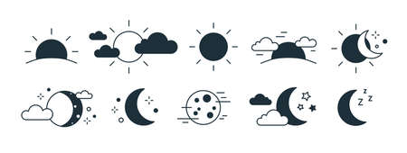 Bundle of rising or setting sun, crescent moon, cloud and stars symbols. Set of day and night time monochrome pictograms drawn with black contour lines on white background. Modern vector illustration.