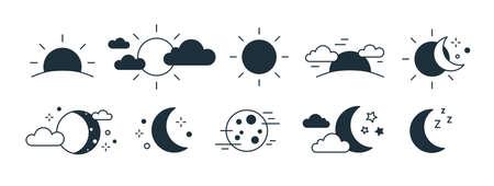 Ensemble de symboles de soleil levant ou couchant, de croissant de lune, de nuages et d'étoiles. Ensemble de pictogrammes monochromes de jour et de nuit dessinés avec des lignes de contour noires sur fond blanc. Illustration vectorielle moderne.