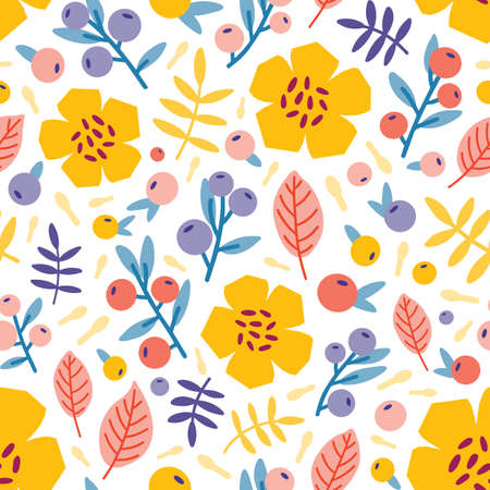 Floral seamless pattern with blooming summer meadow plants. Botanical backdrop with flowers and berries on white background. Flat vector illustration for wrapping paper, textile print, wallpaper