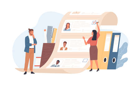 Man and woman office workers standing in front of list of job applicants. Concept of choice of worker or personnel, staff recruitment or employee hiring. Flat cartoon colorful vector illustration