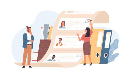 Mężczyzna i kobieta pracowników biurowych stojących przed listą kandydatów do pracy. Pojęcie wyboru pracownika lub personelu, rekrutacji personelu lub zatrudniania pracowników. Ilustracja wektorowa kolorowy płaski kreskówka