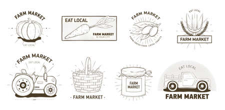 Bundle of designs for farm market, locally grown vegetables, organic products. Set of  emblems hand drawn with contour lines on white background. Monochrome realistic vector illustration.