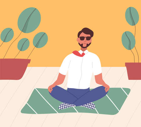 Clerk sitting with his legs crossed on floor and meditating. Manager in yoga position doing meditation, spiritual practice or discipline. Relaxation at office. Flat cartoon vector illustration.