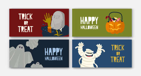 Bundle of horizontal holiday web banner templates with Halloween characters - mummy, Jack-o-lantern with candies, ghost. Flat cartoon vector illustration for festive celebration, promotion.