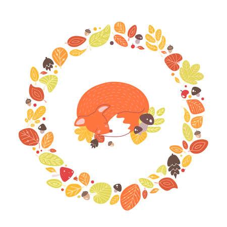 Volpe che dorme all'interno di una cornice circolare o ghirlanda fatta di foglie cadute, ghiande, coni. Composizione decorativa con animale della foresta circondato da fogliame essiccato. Illustrazione di vettore del fumetto piatto stagionale. Vettoriali