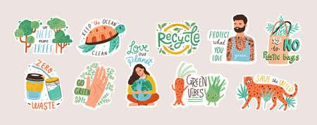 Colección de pegatinas ecológicas con lemas: cero residuos, reciclaje, herramientas ecológicas, protección del medio ambiente. Paquete de elementos de diseño decorativo. Ilustración de vector colorido de dibujos animados plana.