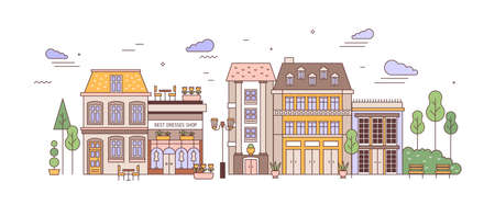 View of city or town street with exquisite antique residential buildings of European architecture. Urban landscape or cityscape with living houses. Colorful vector illustration in linear style. 일러스트