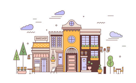 Urban landscape with facades of exquisite European building and bakery. Street view of city district with elegant house and bakeshop or bakehouse. Colorful vector illustration in line art style.