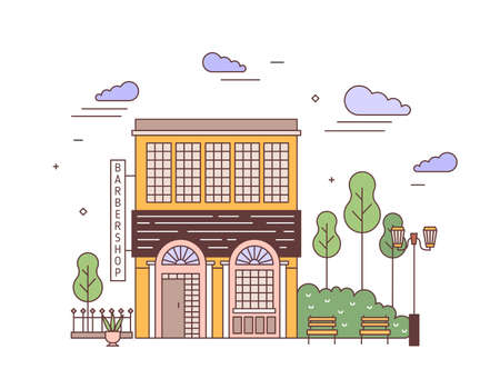 Cityscape with facade of elegant two-storey building of European architecture with barbershop signboard. Street view of stylish residential house. Colorful vector illustration in linear style.