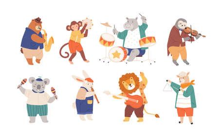 Bündel lustige Tiere, die Musikinstrumente lokalisiert auf weißem Hintergrund spielen. Sammlung süßer Cartoon-Musiker mit Gitarre, Flöte, Maracas, Geige, Saxophon. Flache kindische Vektorillustration Vektorgrafik