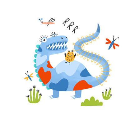 Playful monster, alien, dragon or dinosaur. Adorable fantastic magical creature or mascot. Amusing cartoon character isolated on white background. Colorful childish vector illustration in flat style.