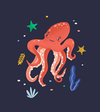 Happy octopus isolated on dark background. Lovely marine animal, cute funny mollusc, seabed dweller, underwater creature. Exotic fauna of tropical sea or ocean. Flat cartoon vector illustration.