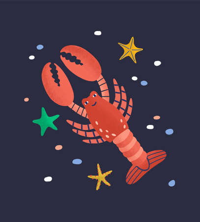 Smiling lobster isolated on dark background. Amusing happy marine animal, crustacean, cute funny underwater creature living in sea. Fauna of tropical ocean. Flat cartoon colorful vector illustration.  イラスト・ベクター素材